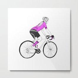 Girl Cyclist Metal Print