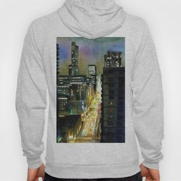 Chicago At Night Watercolor Painting Hoody