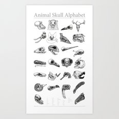 Animal Skull Alphabet Art Print