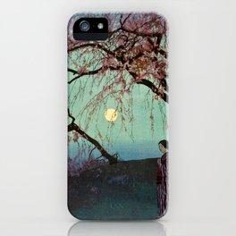 Hiroshi Yoshida - Kumoi Cherry Trees - Japanese Vintage Ukiyo-e Woodblock Painting iPhone Case