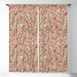 Antique Boho Floral IV - Rose and Pale Pink Blackout Curtain