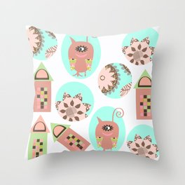 Monsters pattern 1m Throw Pillow