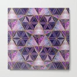 Merkabah on Flower of life pattern Metal Print
