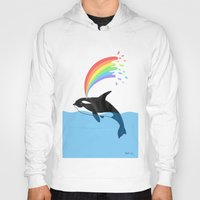 killer whale Hoodies featuring Killer Whale Blows Rainbow by Noel ILL Art