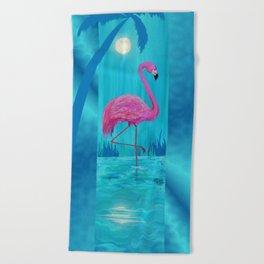 Flamingo in moonlight Beach Towel
