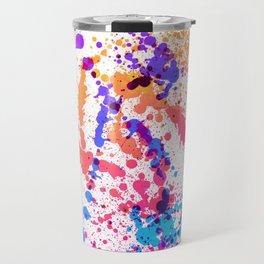 Energetic Expressive Multicolor Paint Splatter Travel Mug