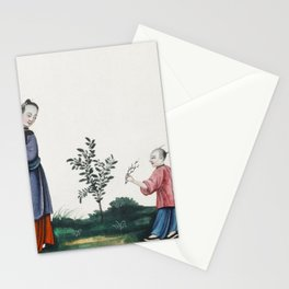 Chinese painting illustrating a mother and a son plucking tea sprouts (ca1800-1899) from the Miriam Stationery Cards