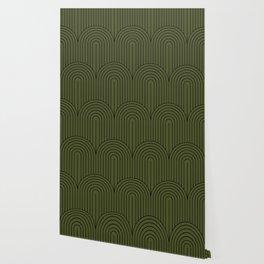 Art Deco Arch Pattern VIII - Dark Green Wallpaper