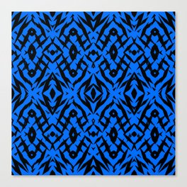 Blue tribal shapes pattern Canvas Print