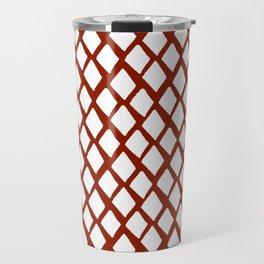 Rhombus White And Red Travel Mug