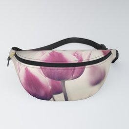Pink Tulip Flower Photography, Dark Pink Black Floral Nature Tulips Fanny Pack