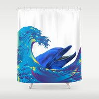hokusai Shower Curtains featuring Hokusai Rainbow & Dolphin by FACTORIE