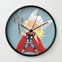thor Wall Clocks featuring Thor by Rod Perich