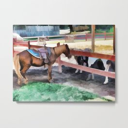 Horse By The Fence 1 Metal Print