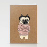 pug Stationery Cards featuring pug by maria elina