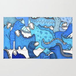 Blue Dinosaur Gradient Rug