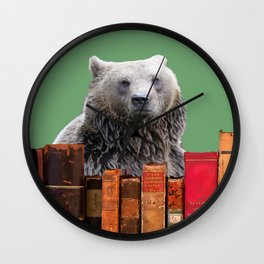 Brown Bear Library Books Collage Wall Clock