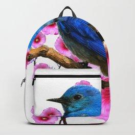 DECORATIVE BLUE BIRD & PINK HOLLYHOCKS VIGNETTE Backpack