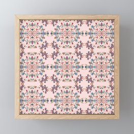 silver filigrane, floral design,tapestry,home decor,romantic, embroidery, flowers, royal  Framed Mini Art Print