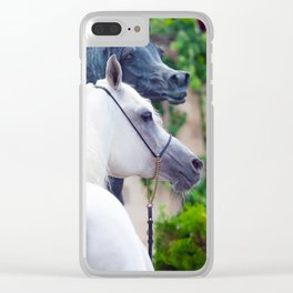 horse collection. arabian white Clear iPhone Case