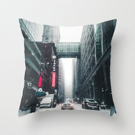 New york under the snow Throw Pillow