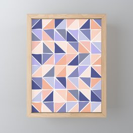 Triangle Geometry in Purple and Coral Framed Mini Art Print