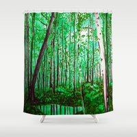 the office Shower Curtains featuring Green Office by sky愛