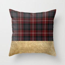 Golden Tartan Throw Pillow
