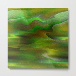 Waves of Abstraction (olive-apple-avocado green) Metal Print