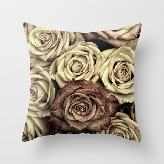 Brown Roses Throw Pillow by Aloke Design Society6