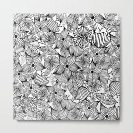 Modern black white hand painted bohemian floral Metal Print