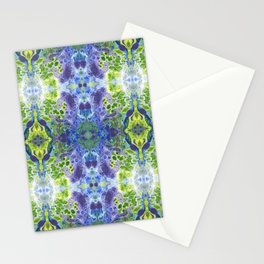 Psycho - Green, White, Purple, Green Abstract Pattern by annmariescreations Stationery Cards