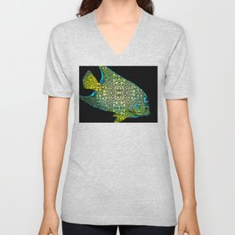 Tropical Fish Art 8 - Abstract Mosaic By Sharon Cummings Unisex V-Neck