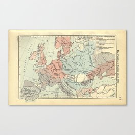 Vintage Map of Europe (1911) Canvas Print