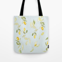 Watercolor Kumquat with Blue Background Tote Bag
