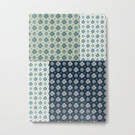 Vintage Tiles #society6 #pattern #indigo Metal Print