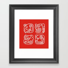 Mayan Glyphs ~ Heads Framed Art Print