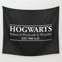 witchcraft Wall Tapestries featuring Hogwarts School of Witchcraft & Wizardry (Black) by IA Apparel
