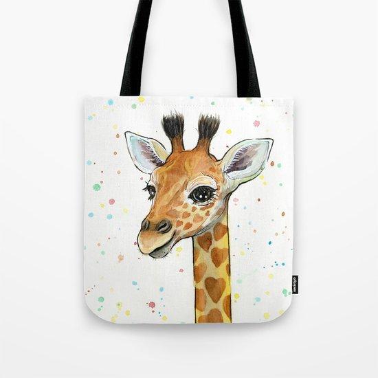 Giraffe Baby Animal with Hearts Watercolor Cute Whimsical Animals Nursery Tote Bag