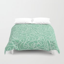 Doodle Line Art   White Lines on Bright Green Duvet Cover