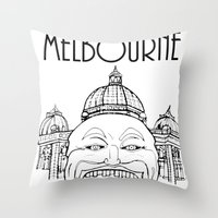 melbourne Throw Pillows featuring Melbourne by Jeremy Buckley illustration