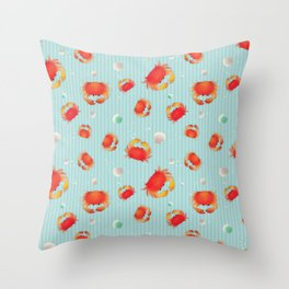 Red Crabs & Sea Shells Throw Pillow