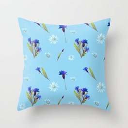 Chamomile and Cornflower pattern Throw Pillow