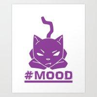 #MOOD Cat Purple Art Print