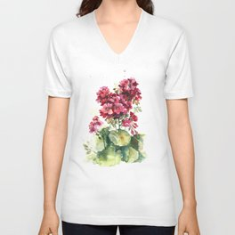 Watercolor geranium flowers Unisex V-Neck