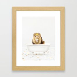 Lion with Rubber Ducky in Vintage Bathtub Framed Art Print