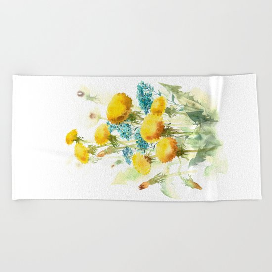 Watercolor flowers of blowball and forget-me-not Beach Towel