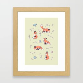 Fox and Bird Pattern Framed Art Print