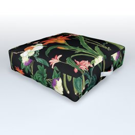 Vintage wild flowers black Outdoor Floor Cushion