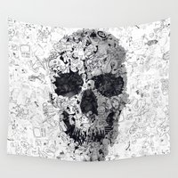 ali Wall Tapestries featuring Doodle Skull BW by Ali GULEC